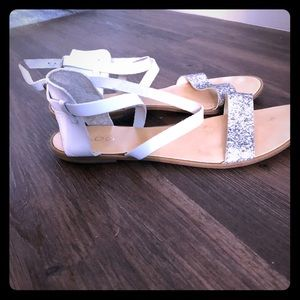 Aldo Silver And White  Ankle Strap Flat Sandals